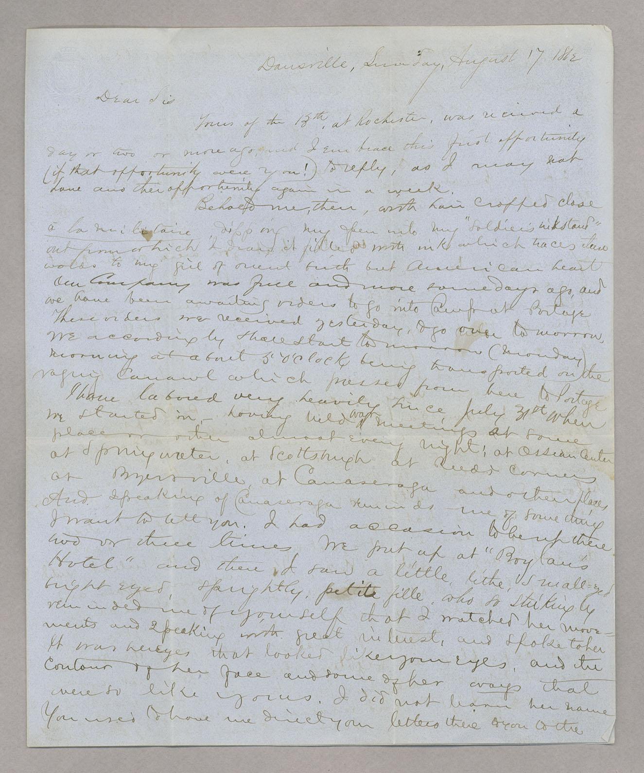 Letter  [Oliver] W[aldo West], Dansville, New York, to