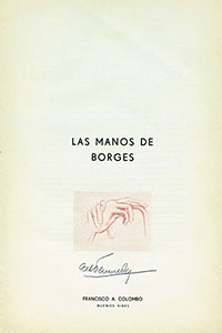 The title page of Las manos de Borges, by Nicolás Cócaro