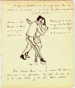 Front of manuscript with tango drawing by Borges.