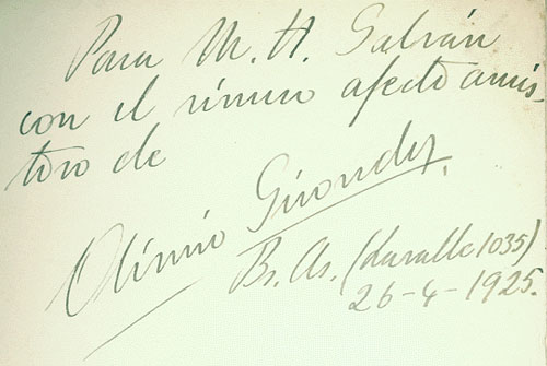 An inscription from Girondo to M. H. Galván.