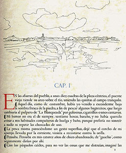 First page of text, with landscape illustration by Alberto Guiraldes.