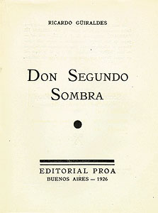 Title page of the 1926 PROA edition of Don Segundo Sombra.