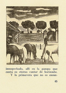 Text and illustraion of grazing horses on page 45.