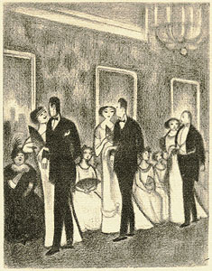 The illustration from page 73, showing couples at a dance.