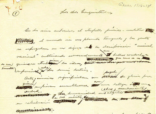 Detail of the first paragraph from the handwritten manuscript.