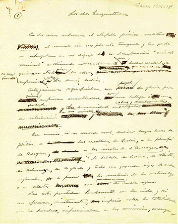 First page of the handwritten manuscript for the essay Los dos conquistadores.