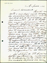 First page of a handwritten letter from Gabriela Mistral to Eduardo Barrios, dated 21 June1920.