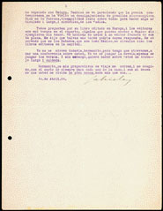 Third page of a typed and hand-corrected letter from Gabriela Mistral to Eduardo Barrios, written 10 April 1924.