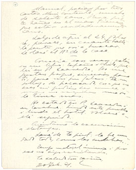 Small image of a handwritten letter to Moure.