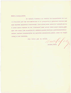 Typed letter from Mistral to Moure, 1914.