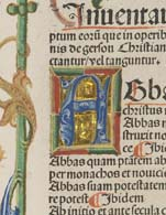 Detail of an initial from the index to Jean Gerson's Opera, printed in Strassburg in 1488.