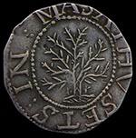 Photograph of a well preserved Noe 1 Oak Tree shilling.