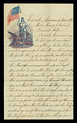 Photograph of a manuscript letter with patriotic letterhead illustration in the upper left corner.