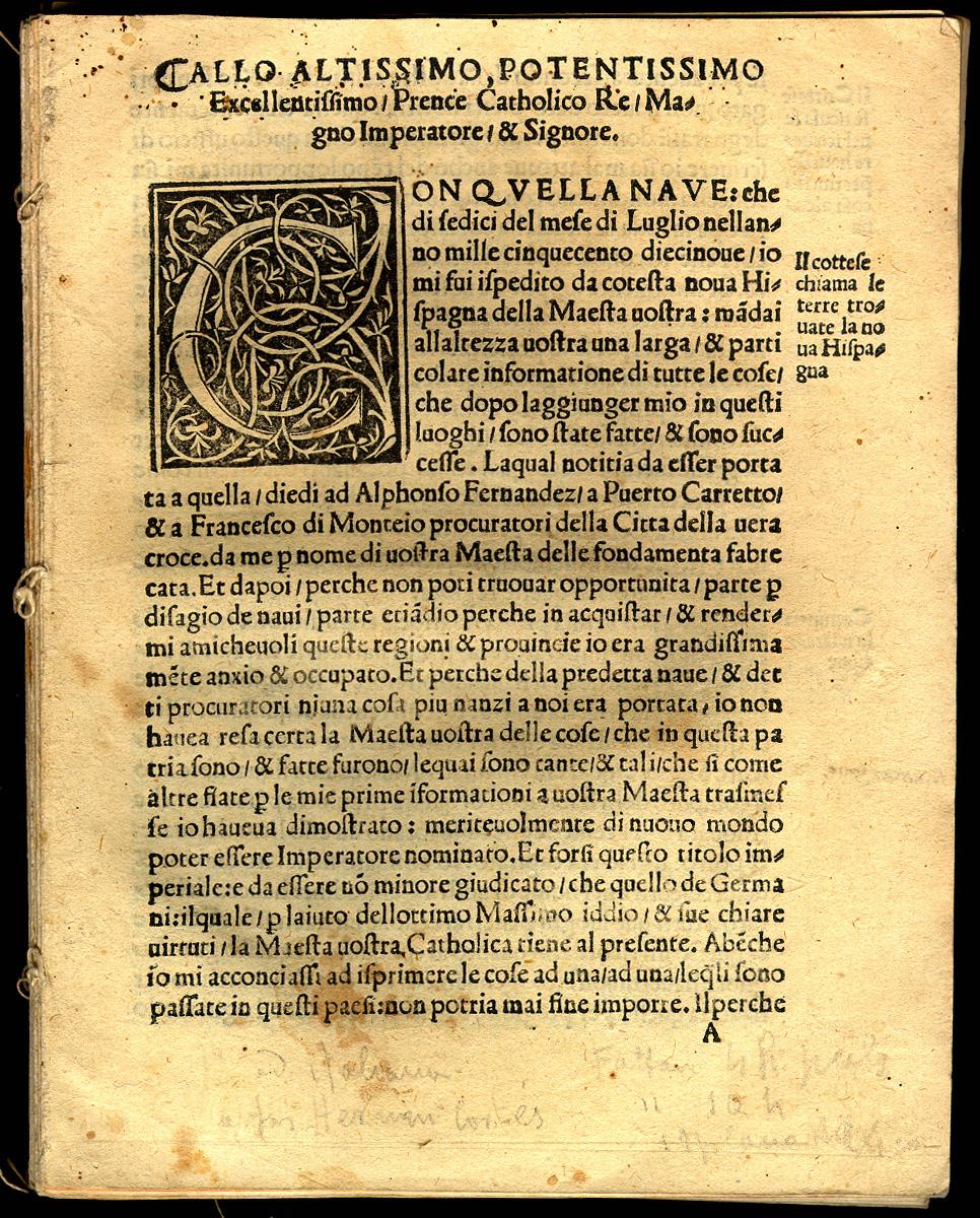 Cort 233 S Preclara Narratione Di F Cortese Della Nuova Hispagna