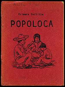 Front cover one of the books on display. The cover is red and includes an image of three seated figures, two adults and a child, all reading.